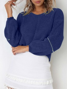 Blue Zipper V-neck Lantern Sleeve Going out Knitwear Jumper Pullover Sweater