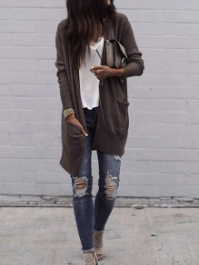 Brown Long Sleeve Casual Sweet Going out Cardigan Sweater
