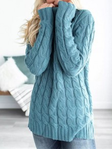Blue Patchwork High Neck Skinny Casual Pullover Sweater