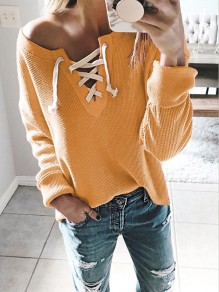 Yellow Drawstring Asymmetric Shoulder Long Sleeve Casual Pullover Sweater