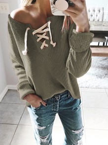 Army Green Drawstring Asymmetric Shoulder Long Sleeve Casual Pullover Sweater