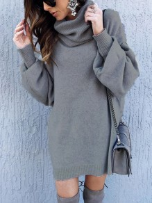 Grey Cut Out Draped High Neck Long Sleeve Casual Sweater