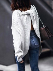 White Cut Out Backless Long Sleeve Fashion Pullover Sweater