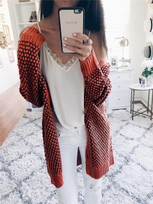 Nacarat V-neck Long Sleeve Casual Cardigan Sweater