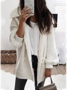 White Pockets Turndown Collar Long Sleeve Going out Cardigan Sweater