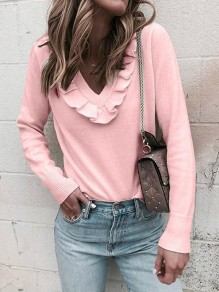 Pink Ruffle V-neck Long Sleeve Casual Pullover Sweater