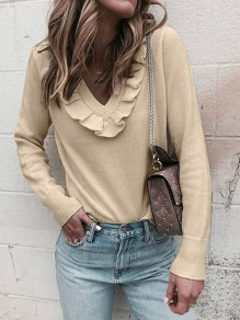 Khaki Ruffle V-neck Long Sleeve Casual Pullover Sweater