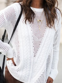 White Cut Out Round Neck Long Sleeve Going out Pullover Sweater