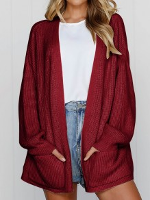 Wine Red Pockets Long Sleeve Oversize Casual Cardigan Sweater