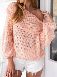 Pink Off Shoulder Long Sleeve Casual Pullover Sweater