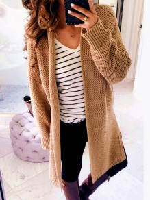 Khaki Patchwork V-neck Long Sleeve Casual Cardigan Sweater