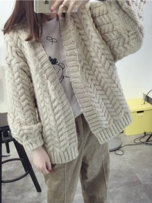Beige Patchwork V-neck Casual Cardigan Sweater