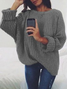 Grey Print Round Neck Long Sleeve Fashion Pullover Sweater