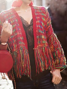 Red Rainbow Tassel V-neck Long Sleeve Going out Cardigan Sweater
