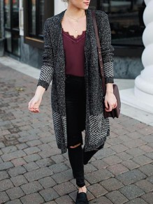 Black Grey Patchwork V-neck Casual Cardigan Sweater