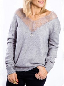 Grey Lace Off Shoulder V-neck Long Sleeve Casual Pullover Sweater