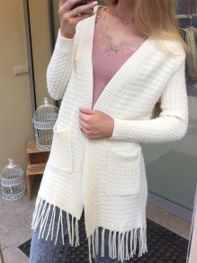 White Pockets Tassel Long Sleeve Fashion Cardigan Sweater