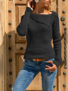 Black Patchwork Irregular Collar Casual Pullover Sweater