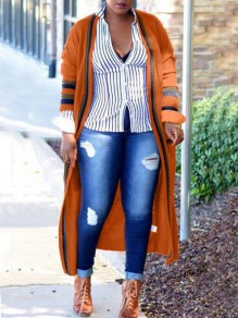Orange-Black Striped Pockets Long Sleeve Casual Cardigan Sweater