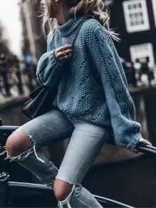 Blue Cut Out Round Neck Long Sleeve Casual Sweater