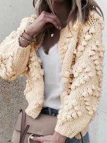 White Love Pom Round Neck Long Sleeve Going out Cardigan Knitted Sweater