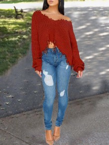 Burgundy Patchwork Tassel Irregular One Shoulder Unique Cut Up Oversized Casual Pullover Sweater