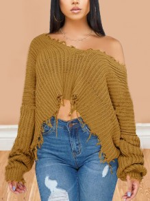 Camel Patchwork Tassel Irregular One Shoulder Unique Cut Up Oversized Casual Pullover Sweater