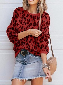 Red Leopard Print Round Neck Lantern Sleeve Casual Pullover Sweater