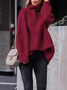 Wine Red High Neck Long Sleeve Pullover Sweater