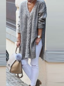 Grey Patchwork Cut Out Side Split V-neck Casual Pullover Sweater