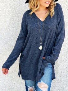 Blue Slit V-neck Long Sleeve Casual Pullover Sweater