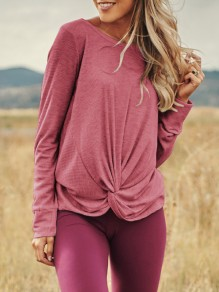 Pink Irregular Round Neck Long Sleeve Casual Pullover Sweater