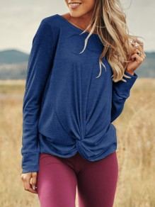 Blue Irregular Round Neck Long Sleeve Casual Pullover Sweater