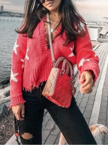 Red-White Star Pattern Tassel Irregular One Shoulder Unique Cut Up Casual Pullover Sweater