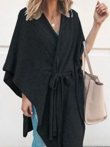 Black Drawstring V-neck Long Sleeve Casual Cardigan Sweater