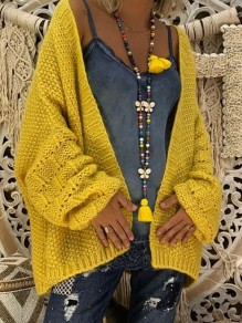 Yellow V-neck Long Sleeve Oversized Cardigan Sweater