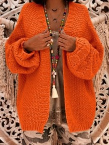 Orange V-neck Long Sleeve Oversized Cardigan Sweater