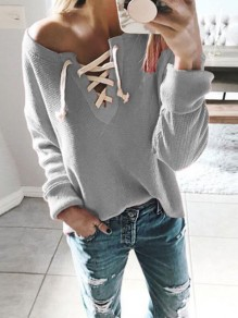 Grey Lace-up One Shoulder Deep V-neck Long Sleeve Oversized Casual Pullover Sweater