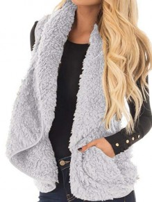 Grey Pockets Furzzy Comfy Turndown Collar Fall Fashion Casual Cardigan Vest