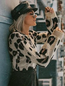 Brown Leopard Pattern Long Sleeve Oversized Casual Pullover Sweater