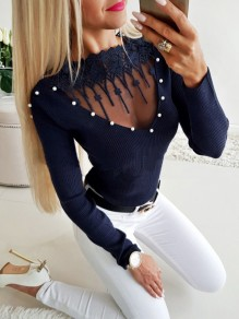 Blue Patchwork Lace Pearl Long Sleeve Casual Pullover Sweater