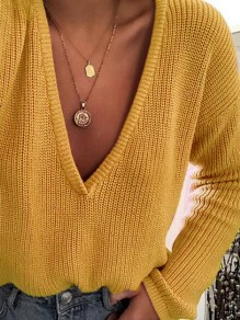 Yellow V-neck Long Sleeve Casual Pullover Sweater
