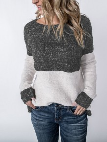 Grey Pleated Round Neck Long Sleeve Casual Sweater