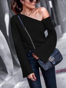 Black Asymmetric Shoulder V-neck Long Sleeve Casual Sweater