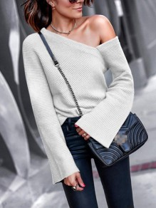 Light Grey Asymmetric Shoulder V-neck Long Sleeve Casual Sweater