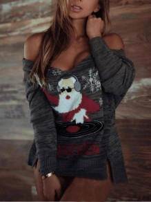 Grey Christmas Santa Claus Off Shoulder Double Slit Oversized Casual Cute Pullover Sweater