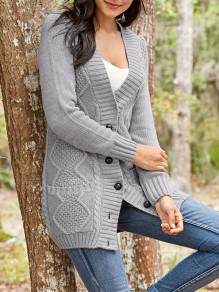 Grey Single Breasted Pockets V-neck Long Sleeve Cardigan Sweater