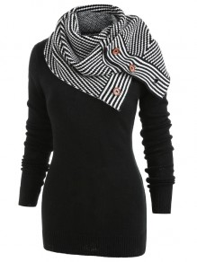 Black Striped Print Buttons Wrap Round Neck Long Sleeve Casual Pullover Sweater