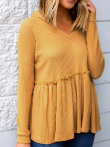 Yellow Draped Hooded V-neck Long Sleeve Sweet Pullover Sweater