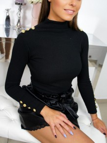 Black Buttons High Neck Long Sleeve Fashion Pullover Sweater